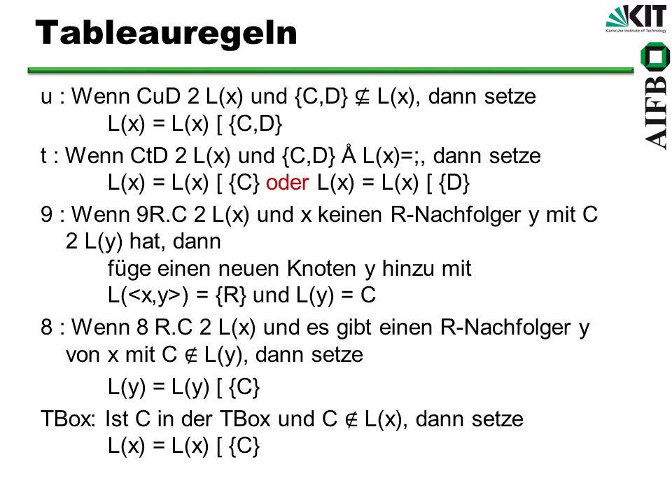 Tableauregeln u : Wenn CuD 2 L(x) und {C,D} ⊈ L(x), dann setze L(x) = L(x) [ {C,D}